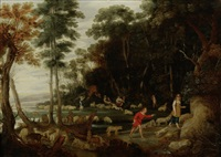shepherds and shepherdesses tending their flocks in a landscape by jan wildens