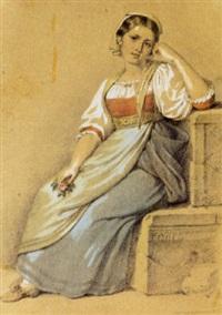 rittrato di giovane donna in costume by raffaele d' auria
