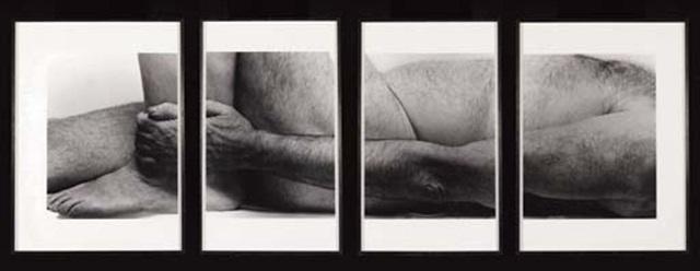 self portrait (lying figure, holding leg, four panels) by john coplans