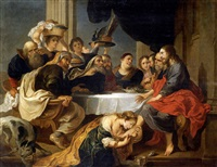 maría magdalena perfumando los pies de cristo (cristo en casa de simón el fariseo) by victor wolfvoet the younger