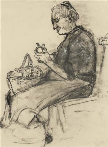 old woman peeling potatoes by joan kathleen harding eardley