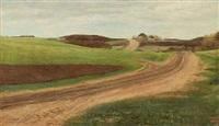 jydsk landskab med en bakket vej op mod et hus i baggrunden by laurits andersen ring