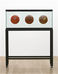 three ball 50/50 tank (spalding dr. jk silver series, wilson home court, wilson final four) by jeff koons