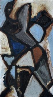 abstrakte komposition in blau, braun und weiß by erhard hippold