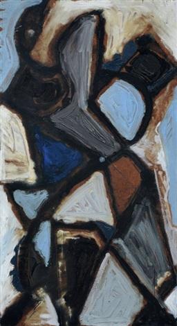abstrakte komposition in blau braun und weiß by erhard hippold