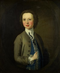 portrait of robert wynne as a boy, half-length, in a grey coat by richard wilson