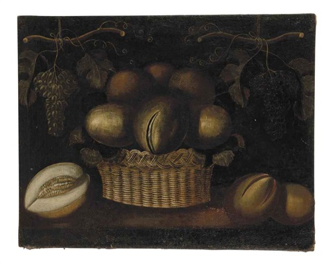 a basket of melons and other fruits by juan van der hamen y león