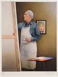 louis le brocquy in his studio by robert ballagh