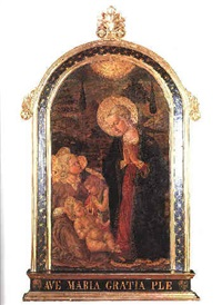 the madonna and child with the infant st. john the baptist and an angel by master of san miniato