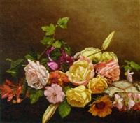 summer flowers on a ledge by joseph lemmens