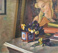 still life with pansies by aurel vasilescu