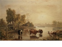 staines church, on the thames, with cattle by ramsay richard reinagle