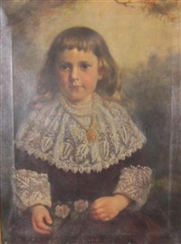 portrait fo a child in a landscape by paul peel