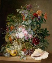 großes dekoratives blumenstillleben mit vogelnest, granatäpfeln und muschel by arnoldus bloemers