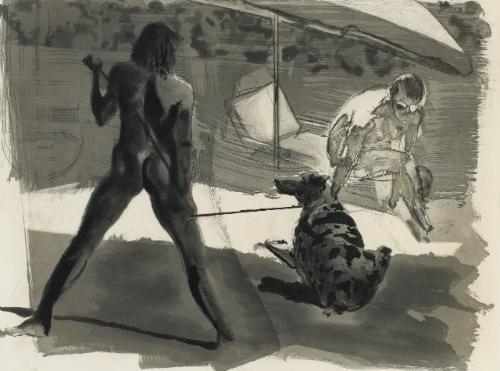 the beach bathers dessin préparatoire représentant des personnages et un chien 3 works by eric fischl