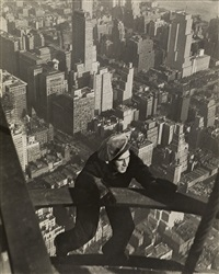 safety-man coming up on mooring mast, empire state building by lewis wickes hine