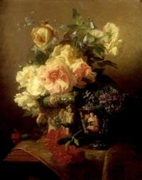 nature morte aux fleurs, vase en céramique et coupe en émail de limoges sur un entablement by jean marie reignier