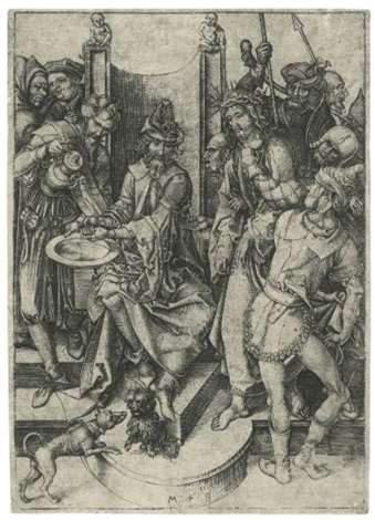 christ before pilate from the passion of christ by martin schongauer