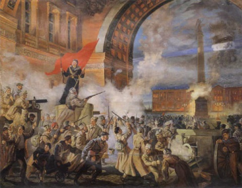 erster tag der revolution in st petersburg by georgy ignatievich xadsvov