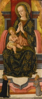 madonna and child enthroned with saints vincent ferrer and bernardinus by pietro alamanno