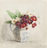 still life of primulas in a jug by gerald ackermann