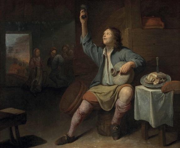 wirtshausinterieur mit zechendem bauer und tänzern sowie einem dudelsackspieler im hintergrund by david ryckaert iii