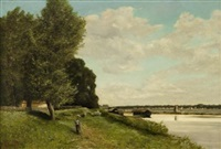 promenade au bord d'une riviere by georges jan