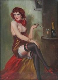 a flirtatious barmaid by gyula asztalos