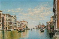 gondoliers on the grand canal, venice by federico del campo