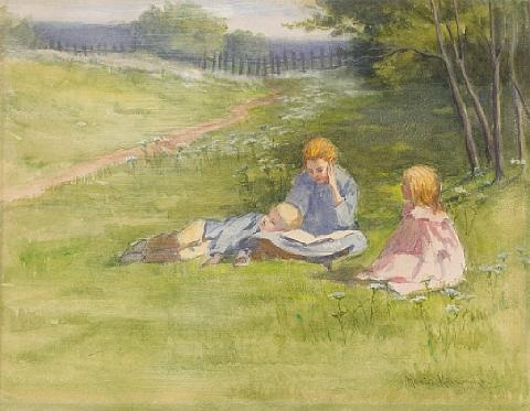 three children in a field of flowers by marion kavanaugh wachtel