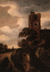 wooded landscape with a church and peasants by a bridge by michel van vries