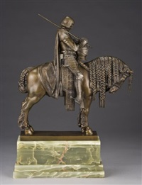 figure dressed in armor and holding a sword on horseback by bruno fach