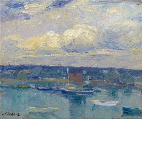 boats in the harbor by charles salis kaelin
