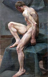 a seated male model by angelo comte de courten