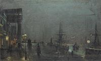 Moonlit port scene