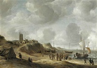 a view of egmond aan zee with fisherfolk on the beach and shipping offshore by jan abrahamsz beerstraten