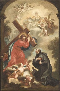 a vision of christ carrying the cross, with god the father by domenico piola