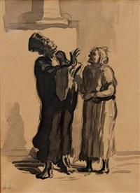 l'avocat et une femme by honoré daumier