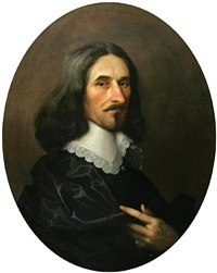 a portrait of a gentleman in a black robe with a lace collar by william dobson