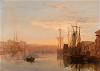 evening mood in the harbour by samuel phillips jackson