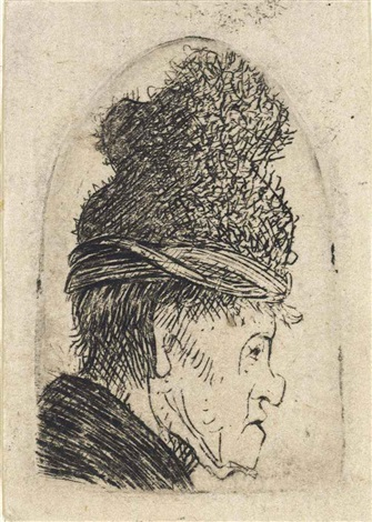 a grotesque profile man in a high cap collab wpupil by rembrandt van rijn