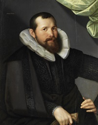 portrait of a gentleman, half-length, in black costume, before a green curtain by gortzius geldorp