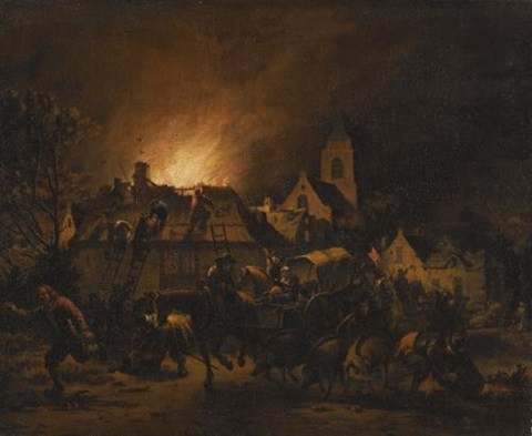 a night scene with a fire in a village by egbert lievensz van der poel