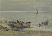 flamboro gobles coming ashore; fishing boats in a breeze; fishing boats off-shore (3 works) by c(harles) w(illiam) adderton
