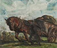 horse and cart being led by a horseman by harry becker