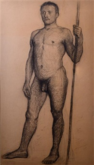 man holding a pole in the stockholm bath house (study) by eugene fredrik jansson