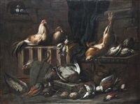 a dove, cockerels, hare, duck, woodpecker and other game birds by jacob van der kerckhoven