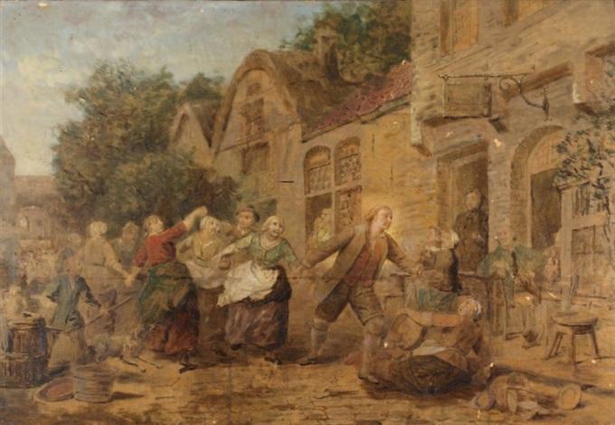 une scène animée de villageois dans une perspective de rue animée de personnages by adrien ferdinand de braekeleer