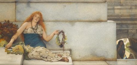 the garland seller on the steps of the capitol second version spring flowers by sir lawrence alma tadema