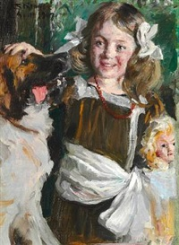 a little girl in a fancy dress with her dog and her doll by peder severin krøyer